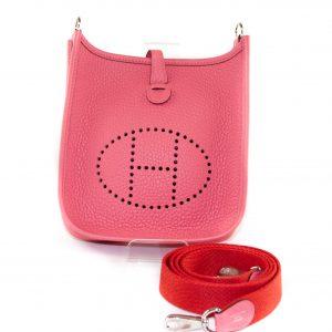 Hermès Evelyne Mini Taurillon Clemence, Rose Azalee / Rouge Pivoine PHW