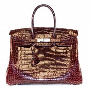 Hermès Birkin 35 Krokodil Alligator glänzend Bordeaux Palladium HW